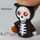 Halloween Scary Skull LED Light   Sound Key Ring Keychain Death Ghost Luminous Horror Skeleton Key Chain black