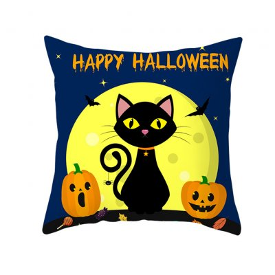 Halloween Series Pumpkin/Black Cat Printing Throw Pillow Cover Decor for Home Party TPR181-28_45*45cm (without pillow)