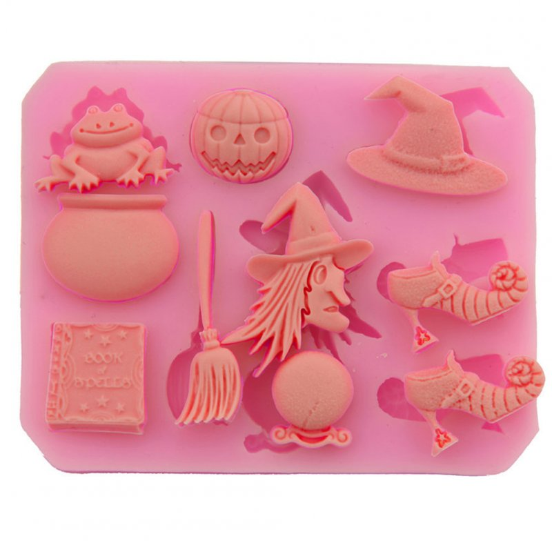 Halloween Theme Pumpkins Witch Silicone Mold DIY Fondant Cake Decorating Tool 8.7*7*0.9 cm