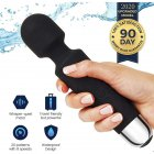 Handheld Wand Massager Cordless Waterproof Back Neck Massage Powerful Vibrating USB Rechargeable black
