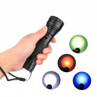 High Power 4 Colors LED Flashlight Portable Camping Light Emergency Signal Light Red blue green white