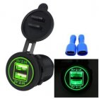 High Quality Waterproof Dual USB Aperture 4.2A 12V-24V Car Charger with Light Indicator green