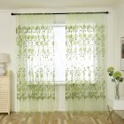 Home Office Peony Pattern Printing Thin Window Tulle Curtain Pole Style green_100*200CM
