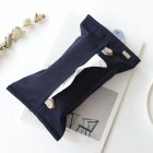 Household Solid Color Cotton Linen Tissue Box  Dark blue Tissue bag
