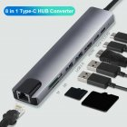 Hub  Converter Aluminum  Alloy 4k 30hz Hd Usb 3.0 Portable 8-in-1 Usb-c   Multi Port Adapter For Laptop gray