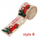 Imitation Hemp Ribbon Car Tree Printing Christmas Decoration Ribbon Roll for Gift Packing Hemp color