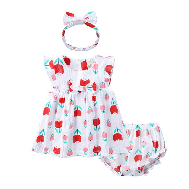 Infant Baby Toddler Sweet Strawberry Round Neck Short Sleeve Princess Dress+Shorts+Headband Three Piece Suit Outfit QZ4058R Tulip_66