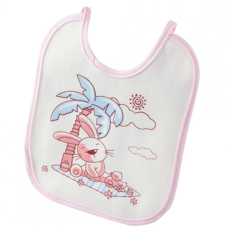 Infant Newborn Baby Bib Towel Waterproof Polyester Cotton Lovely Cartoon Printing red