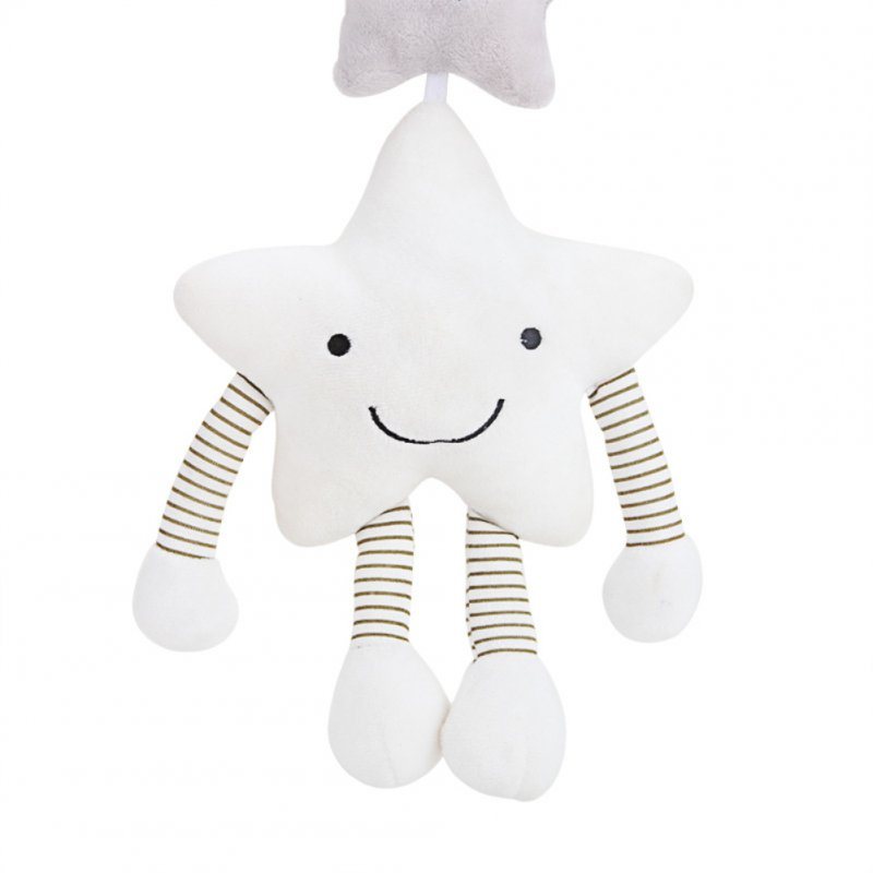Infant Newborn Baby Lovely Cartoon Five-Pointed Star Music Rattle Crib Stroller Plush Hanging Sensory Toy
