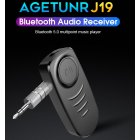 J19 Bluetooth Audio Receiver Mic Handsfree Call Wireless Adapter Bluetooth 5.0 Speaker Headphone Audio Transmitter black