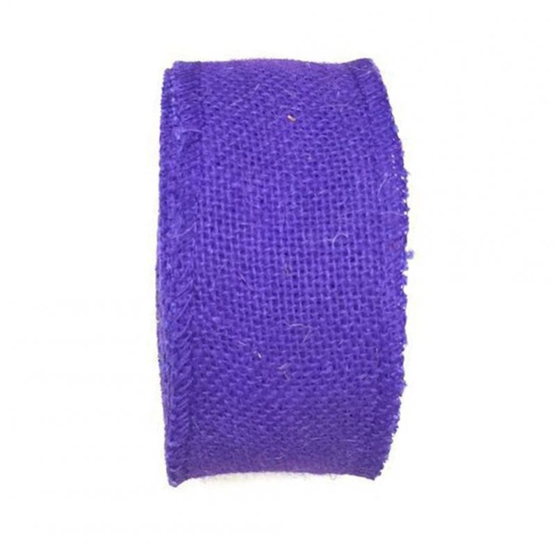 Jute Burlap Ribbon Roll for DIY Party Wedding Cake Holiday Craft Decoration 10m purple_6cm