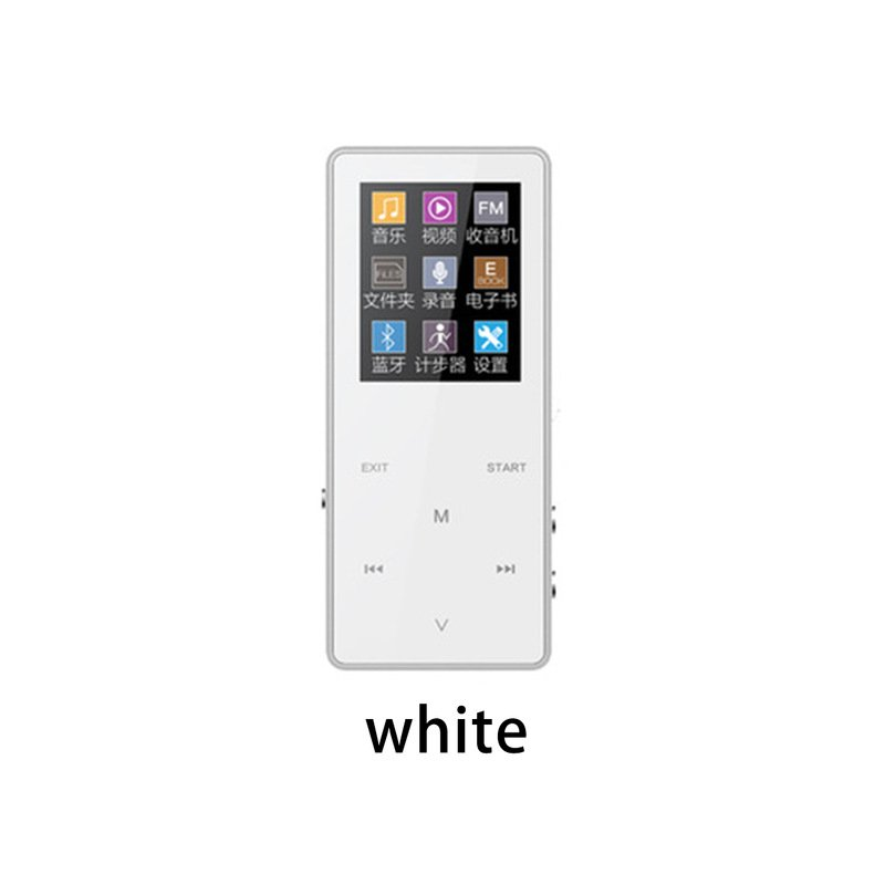 K1 1.8 Inch MP3 Player 8G 16G 32G HIFI Noise Built-In Speaker Recorder E-Book Support Extended Memory 128G Bluetooth white