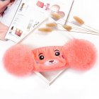 Kid 2-in-1 Warm Mask Earmuffs Cartoon Bear Winter Thicken Plush Riding Outdoor Wear Dark pink