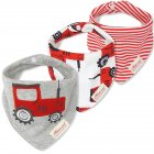 Kids Baby Bibs Burp Cloth Cute Printed Soft Cotton Triangle Baby Bibs 3Pcs 26 red tractor