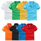 Kids Boys Girls Summer Simple Solid Color Lapel Short Sleeve T shirt white S