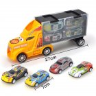 Kids Boys Simulate Container Car with 4 Pull Back Metal Cars Toy Set yellow