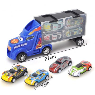 Kids Boys Simulate Container Car with 4 Pull Back Metal Cars Toy Set blue