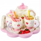 Kids Girls Simulate Wooden Pink Tea Set Play House Educational Toy Pink tea set