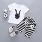 Kids Infants Boys Girls Rabbits Printing Shirts Strips Pattern Pants