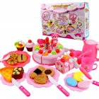 Kids Play House Fruits Cake Cutting Toys with Magic Sticker for Kids Pink 80 Piece Cake Dessert Set