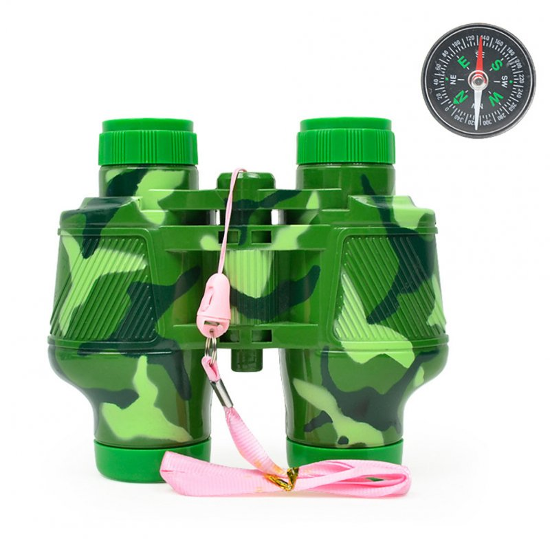 Kids Simulate Binoculars Telescope Compass Educational Toy with Neck Strap for Outdoor green