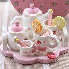 Kids Simulate Wooden Strawberry Afternoon Tea Play House Tea Set Educational Toys
