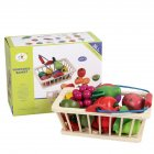 Kids Wooden Vegetables Fruit Cutting Play House Toy Early Education Supplies Gift 16pcs/set fruit backet