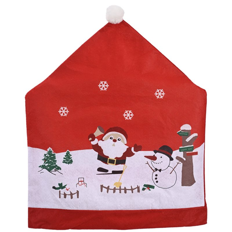 Kitchen Table Chair Covers with Santa Claus Snowman Pattern Christmas Chair Cover Decoration 1pcs
