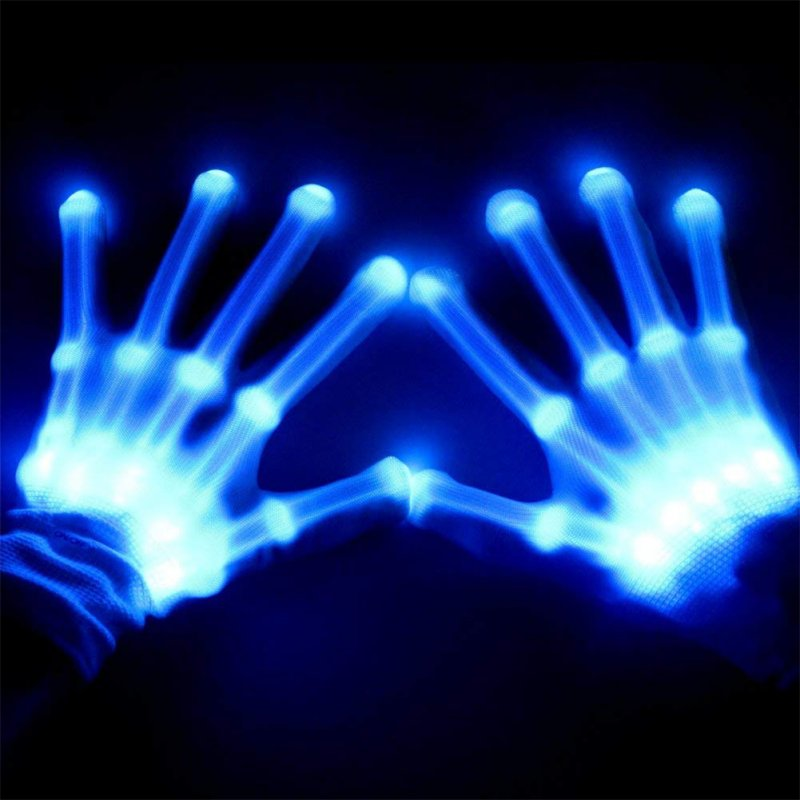 LED Color Changing Flashing Skeleton Gloves Novelty Halloween Costume Party Concert Prop Blue light