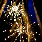 LED Fireworks Shape Solar String lights or Garden Decoration Copper Wire Warm White_40 200LEDs