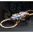 LED Light Chinese Brave Troop Model Car Keychain Key Ring Automobiles Car Styling Buckle K Gold