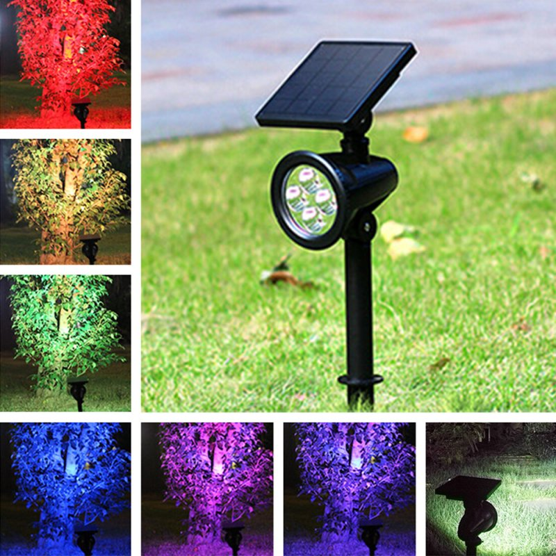 LED Solar Powered Lawn Lamp 8 Color Changing LED Spot Light Waterproof Outdooor Garden Lawn Landscape Lamp without remote control