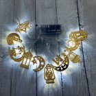 LED Sting Light House Shape Eid Mubarak Element Ramadan Islamic Indoor Home Party Decor white