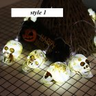 LED String Light Pumpkin/Skeleton/Skull Shape Night Light for Halloween Party Bar Decor(Without Battery) 1.5 m 10 lights