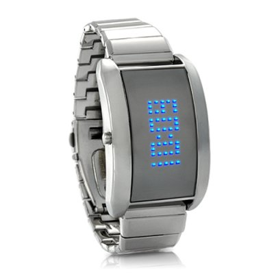 Blue Fiction Metal Alloy LED Watch