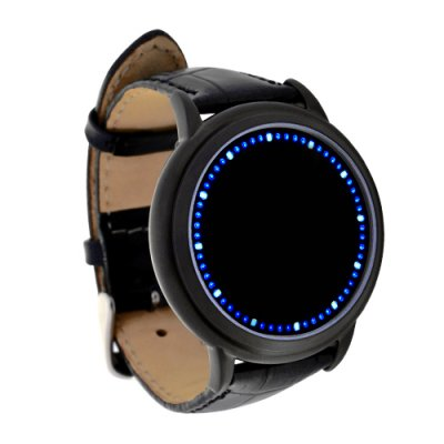 Touchscreen + Leather Blue LED Watch - Abyss
