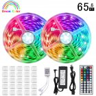 LUNSY IP65 Waterproof LED Strip Lights Kit, 65.5ft(20M) 5050 SMD RGB Flexible LED Tape Lights with 44Key Wireless RF Remote Controller for Under Cabinet Lighting Bedroom, Living Room, etc