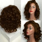 Lace Front Woman Wigs Wavy Natural Short Curly Wig  brown