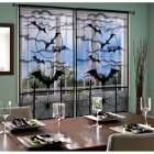 Lace Spider Web Bat Pattern Window Door Curtain for Halloween Spirit Festival Decor 40x84 Inches black_101x213cm