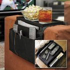 Large 6 Pockets Sofa Couch Arm Rest Storage Bag Organizer Holder for Sofa Remote Caddy black