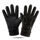 Leather Glove Winter Glove Winter Pigskin Glove Ride Bike  # pattern Black_One size