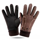 Leather Glove Winter Glove Winter Pigskin Glove Ride Bike  # pattern brown_One size