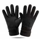 Leather Glove Winter Glove Winter Pigskin Glove Ride Bike  Pointed back black_One size