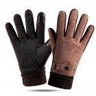 Leather Glove Winter Glove Winter Pigskin Glove Ride Bike  Pointed back brown_One size