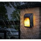Led Solar Wall Light Outdoor Waterproof Rechargeable Landscape Flame Light warm light