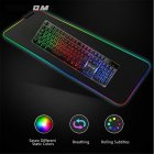 Lighting Mouse Pad Anti-slip RCB Colorful Gaming Mouse Mat 800*300*4MM/ 350*250*3MM black_800 * 300 * 4MM