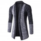 Long Sleeve Knitted Sweater Shawl Ruffle Collar Long Length Cape Coat Cardigan for Man Dark gray_L