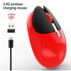 M106 Rechargeable 2.4g Wireless Mouse Mute Rabbit Mouse Back computer desktop Office Mouse With One Click red