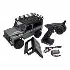 MN-99S 1/12 2.4G 4WD Rc Car W/ Turn Signal LED Light 2 Body Shell Roof Rack Crawler  Truck RTR Toy gray_Single battery