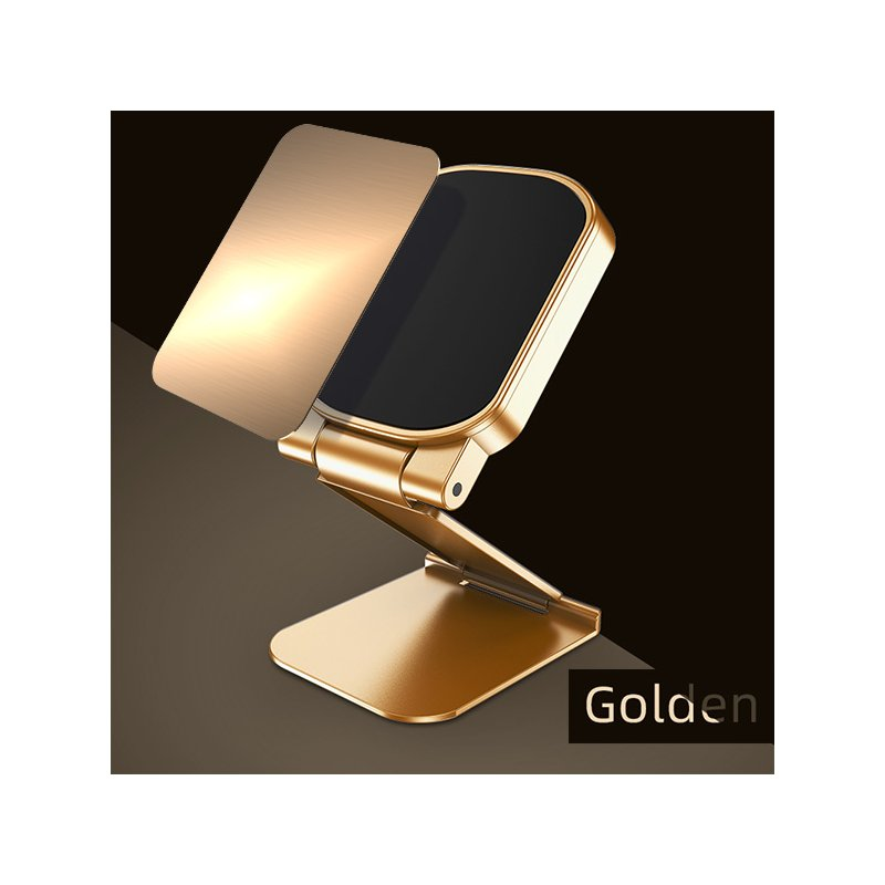 Magnetic Car Phone Holder Dash Board Magnet Mobile Holders Folding Adjustable Magnet Support Desktop Bracket Golden